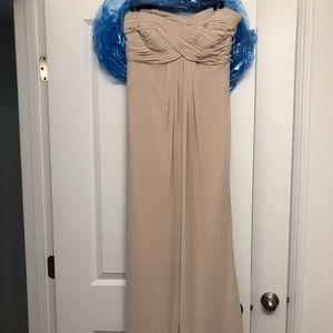 Strapless Champange Formal Dress by Bill Levkoff